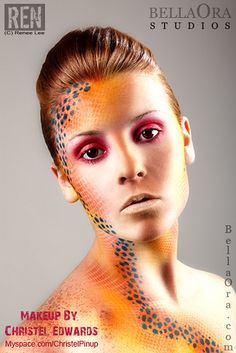 Beautiful woman portrait with creative makeup by Ren (photo), via Flickr