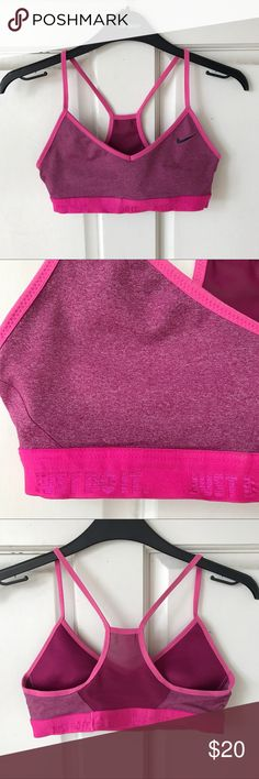 "Nike ""Just Do It"" Pink Sports Bra Excellent used condition. ❣️ Wear shown in photos. Nike Intimates & Sleepwear Bras"