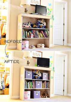 We love the before and after of this bookshelf used for storing kids' toys and books. | From Ashley of Lil Blue Boo #simple #styling #home #bookshelf