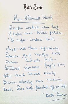Bette Davis Red Flannel Hash