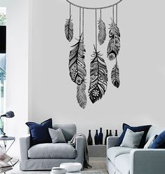 Wall Vinyl Decal Dreamcatcher Feather Romaniic Decor z3688
