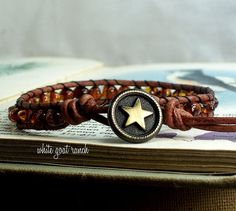 Baltic Amber Handmade Bracelet Leather Wrap Boho by WhiteGoatRanch