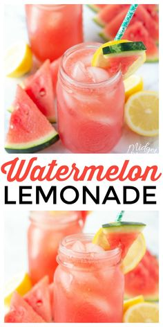 This Watermelon Lemonade Recipe tastes like summer in a glass! Fresh watermelon with fresh lemons and a few other ingredients and you have an amazing refreshing summer drink. #Watermleon #lemonade #WatermelonLemonade #WatermelonDrink