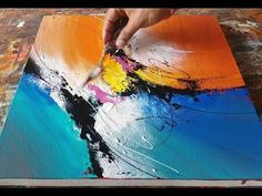 Abstract painting / Using plastic wrap, cloth and palette knife / Acrylics / Demonstration - YouTube