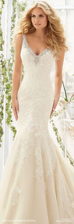 Crystal Beaded Edging Meets the Cascading Alencon Lace Appliques on Net Over Soft Satin