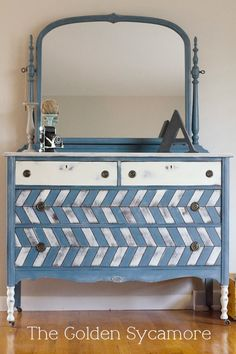 Herringbone dresser with chalk paint. Love this