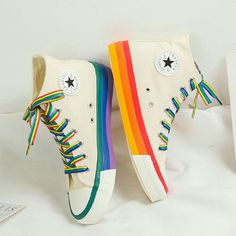 Style Converse, Mode Converse, Converse Shoes, Women's Shoes, Footwear Shoes, Rainbow Sneakers, Rainbow Shoes, Rainbow Converse, Rainbow Colors