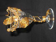 Ancien verre à liqueur décor fil aluminium doré : Accessoires de maison par…