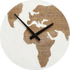 Nástěnné hodiny Antique Continent O36 cm - bílé