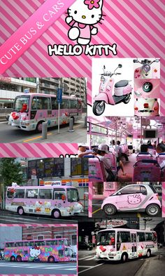 I never thought people could be that crazy about Hello Kitty.  Here is an image of a Hello Kitty bus, car and motorbike.