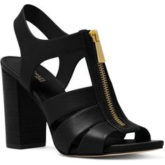 Michael Michael Kors Women's Damita Leather Zip High Heel Sandals (1.940 ARS) ❤ liked on Polyvore featuring shoes, sandals, black, leather heeled sandals, black leather sandals, zipper sandals, black shoes and real leather shoes