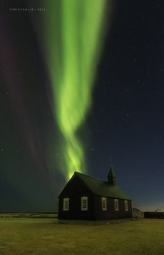 Black as Night - Budir Black Church on the West Peninsula of Iceland, good thing I had a thick bonnet to cover the bright halogen light... this one a multiple exposure and focus shot. Really happy to have finally caught this one with Northern Lights along with Aurora Hunter...  www.500px.com/patrickmarsonong  www.iceland-photo-tours.com