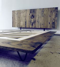 Reclaimed Wood Platform Bed | Low to the ground in reclaimed barn wood, this minimalist bed ... | Beds