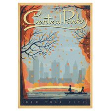 New York City Central Park Autumn by Anderson Graphic Art in Grey