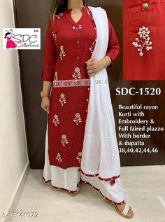 Kurta Sets Women Rayon A-line Embroidered Long Kurti With Palazzos Kurta Fabric: Rayon Bottomwear Fabric: Rayon Fabric: Rayon Sleeve Length: Three-Quarter Sleeves Set Type: Kurta With Bottomwear Bottom Type: Palazzos Pattern: Printed Multipack: Single Sizes: S (Bust Size: 38 in, Shoulder Size: 13.5 in, Kurta Waist Size: 36 in, Kurta Hip Size: 38 in, Kurta Length Size: 40 in, Bottom Waist Size: 32 in, Bottom Length Size: 40 in)  XL (Bust Size: 44 in, Shoulder Size: 15 in, Kurta Waist Size: 42 in, Kurta Hip Size: 44 in, Kurta Length Size: 46 in, Bottom Waist Size: 38 in, Bottom Length Size: 46 in)  L (Bust Size: 42 in, Shoulder Size: 14.5 in, Kurta Waist Size: 40 in, Kurta Hip Size: 42 in, Kurta Length Size: 44 in, Bottom Waist Size: 36 in, Bottom Length Size: 44 in)  M (Bust Size: 40 in, Shoulder Size: 14 in, Kurta Waist Size: 38 in, Kurta Hip Size: 40 in, Kurta Length Size: 42 in, Bottom Waist Size: 34 in, Bottom Length Size: 42 in)  XXL (Bust Size: 38 in, Shoulder Size: 15.5 in, Kurta Waist Size: 36 in, Kurta Hip Size: 38 in, Kurta Length Size: 40 in, Bottom Waist Size: 32 in, Bottom Length Size: 40 in)  Country of Origin: India Sizes Available: S, M, L, XL, XXL, XXXL   Catalog Rating: ★4 (465)  Catalog Name: Women Rayon A-line Embroidered Long Kurti With Palazzos CatalogID_2565736 C74-SC1003 Code: 306-13141072-1851
