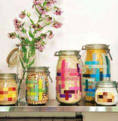 Washi tape on mason jars, oh, so, easy!