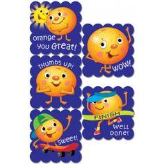 Descubre las pegatinas de rascar y oler con aroma a naranja.