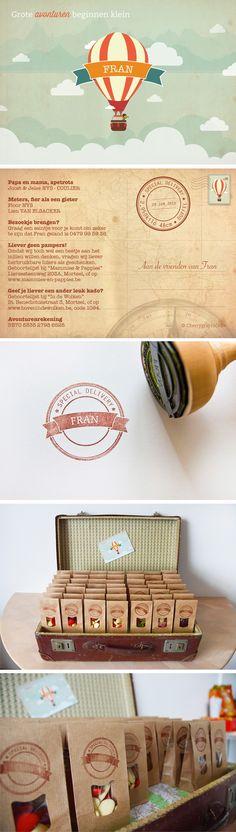 © Studio Kriek / Birthannouncement card for Fran. #birthannouncement #birthcard #itsagirl #graphicdesign #retro #airballoon #clouds #studiokriek