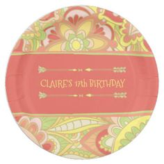 70's Party, Yellow and Coral Paper Plate