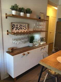 Do you want to have an IKEA kitchen design for your home? Every kitchen should have a cupboard for food storage or cooking utensils. So also with IKEA kitchen design. Here are 70 IKEA Kitchen Design Ideas in our opinion. Hopefully inspired and enjoy! Diy Dining Table, Dining Area, Rustic Table, Wood Table, Dining Decor, Ikea Dining Room, Dining Room Shelves, Dining Room Bar, Table Shelves