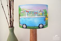 #Campervan Fabric Lampshade Illustrated Lamp Shade Handmade Lighting Ceridwen Hazelchild Design