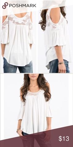 Bell Sleeve Top So soft and cute cold shoulder top with lace details.  🚫Trades✅Price firm,bundle and save on shipping April Spirit Tops Tees - Long Sleeve