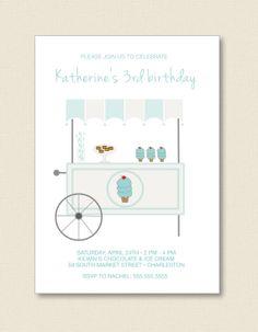 Ice Cream Cart  KIDS BIRTHDAY INVITATIONS by TutuRevue on Etsy, $21.50