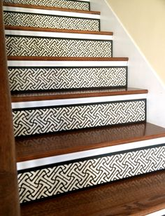 Custom Stair Risers Made Here! by TributeDesigns Painted Staircases, Painted Stairs, Stair Risers, Animal Print Rug, Remodeling, Entryway, Patterns, Unique, Fit