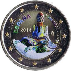 moneda conmemorativa 2 euros España 2014 Gaudí Color.