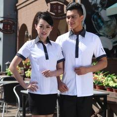 white black collar summer restaurant wait staff shirt uniform Waiter Uniform, Hotel Uniform, Restaurant Uniforms, Korea Design, Cooling Scarf, Uniform Shirts, Denim Fabric, Shirt Jacket, Chef Jackets