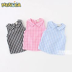 Cheap girls blouse, Buy Quality blouse baby directly from China blouse girl Suppliers: summer baby girls shirt girls plaid blouse baby cotton tops kids shirts baby shirts girls blouses 2017 new arrival drop New Fashion Summer Style Kids Baby Girl Shirts, Baby Girl Dresses, Baby Outfits, Shirts For Girls, Kids Outfits, Kids Shirts, Baby Dress Design, Sleeveless Outfit, Girl Dress Patterns