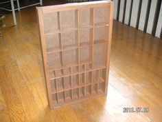 on eBay by MsFrugaLady:  WOOD MINIATURE DISPLAY Organizer WALL RACK - Storage Cabinet - Shelf or Drawer Tray - Shadow Box - 34 Compartment-Slots