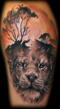 Lion tattoo, aka leo tattoo, is one of the most popular among animal tattoos. People love lion tattoos not only for its cool appearance but also for its Lion Back Tattoo, Lion Shoulder Tattoo, Mens Lion Tattoo, Flower Tattoo Foot, Lace Tattoo, Flower Tattoos, Lion Tattoo Design, Tattoo Designs Men, Body Art Tattoos