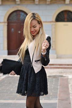 Black lace dress, Zara high heels, leather jacket and Swarovski jewelry - #outfit italian fashion blogger It-Girl by Eleonora Petrella #look #style #itgirl #fashionblog #fashion #blonde