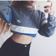 sweater style clothes fashion nike sweater nike blue crop tops cropped sweater crop top sweater crop top hoodie grey sweater urban streetwear streetstyle tumblr sweater tumblr tumblr girl tumblr clothes long sleeves long sleeve prom dresses dope dope wishlist swag high waisted jeans