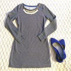Listing! Loft navy striped shift dress Adorable Lou and Grey Loft dress in beautiful condition. Loft is known for their classic style, quality, and stunning fit...this dress is no exception! Bust 18 in. Length 31 in. LOFT Dresses Long Sleeve