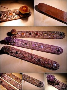 Ornate large citrin crystal polymer clay incense by nouveaushades, $75.00