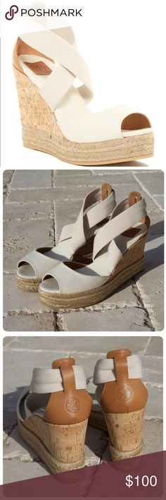 """Tory Burch Peep Toe Wedges Tori Burch peep toe cork wedge sandals with jute trim. Color is ivory.  Crisscross vamp straps. Approx 3.25"""" heel, 1.25"""" platform. Worn once, excellent condition. First photo is not mine, all others are. Tory Burch Shoes Wedges"""