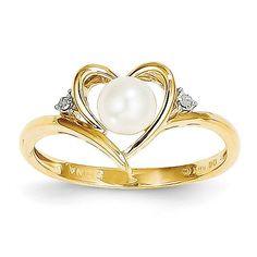 14K Diamond & FW Cultured Pearl Ring XBS485