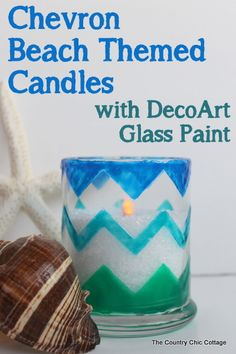 Chevron Beach Themed Candle Holders -- use glass paints to create these great candle holders in minutes.  Bring a bit of the beach indoors this summer and add a nautical flair to your decor.  Plus there is also a $200 giveaway to enter in this post!