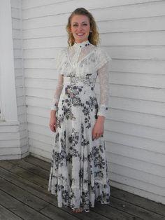 Gunne Sax Dress Prairie Lace Ruffle Victorian Floral by soulrust