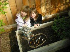 cute farmhouse mini scene in garden box.