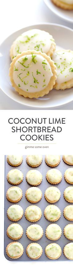 Coconut Lime Shortbread Cookies - Full of fresh lime, coconut, and buttery flavors, and topped with a light lime glaze. One of my all-time favorite cookie recipes! (recipes for desserts cookies) Just Desserts, Delicious Desserts, Dessert Recipes, Yummy Food, Lime Desserts, Dessert Bars, Plated Desserts, Yummy Cookies, Yummy Treats