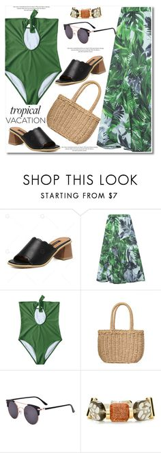 """""""Tropical Vacation"""" by paculi ❤ liked on Polyvore featuring H&M and Piel Leather"""