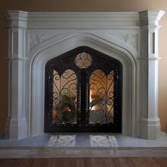 Dress up your fireplace with the 98 Oxford Fireplace Mantel. It's a durable cast stone mantel with a real limestone look that is sure to impress. Black Fireplace Mantels, Home Fireplace, Fireplace Surrounds, Fireplace Design, Fireplace Ideas, Mantel Ideas, Mantel Shelf, Mantles, White Mantel