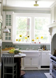 grey floor and subway tile with white