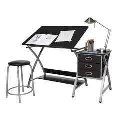 Comfort Products OneSpace Black and Silver Drafting Craft Hobby Table with Stool (Black) Drawing Desk, Fabric Drawers, Craft Station, Craft Desk, Art Supply Stores, Modern Crafts, Desk Shelves, Color Crafts, Sewing Table