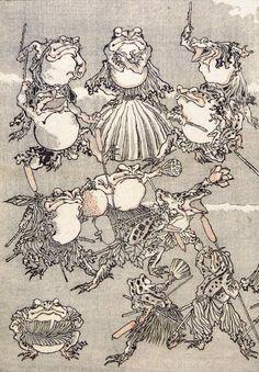 Japanese Ukiyo-e: Frog samurai. Kawanabe Kyōsai