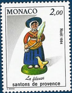 """The Spinner - Fileuse -  Postage Stamps """"Santons de Provence"""" - Repinned by www.mygrowingtraditions.com"""