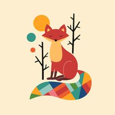 Rainbow Fox Duvet Cover by Andy Westface | Society6